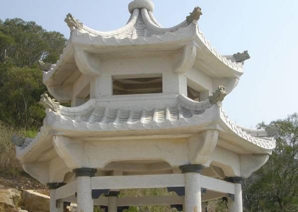 六角石雕凉亭
