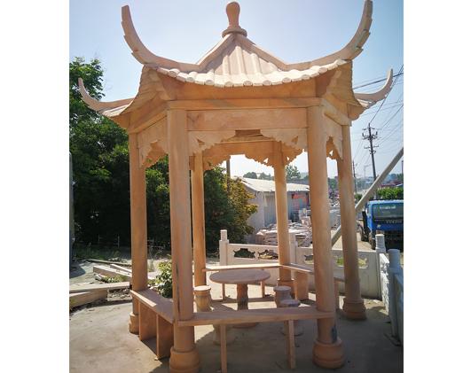 校园八角石雕凉亭