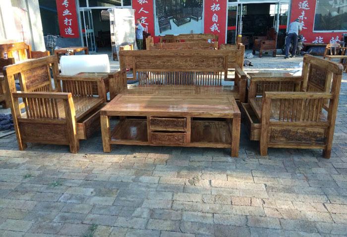 新中式山水沙发六件套