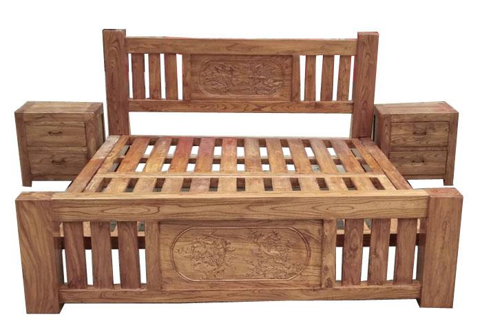 花鸟雕花床+床头柜