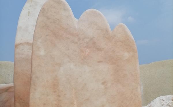 湖北村口晚霞红景观石