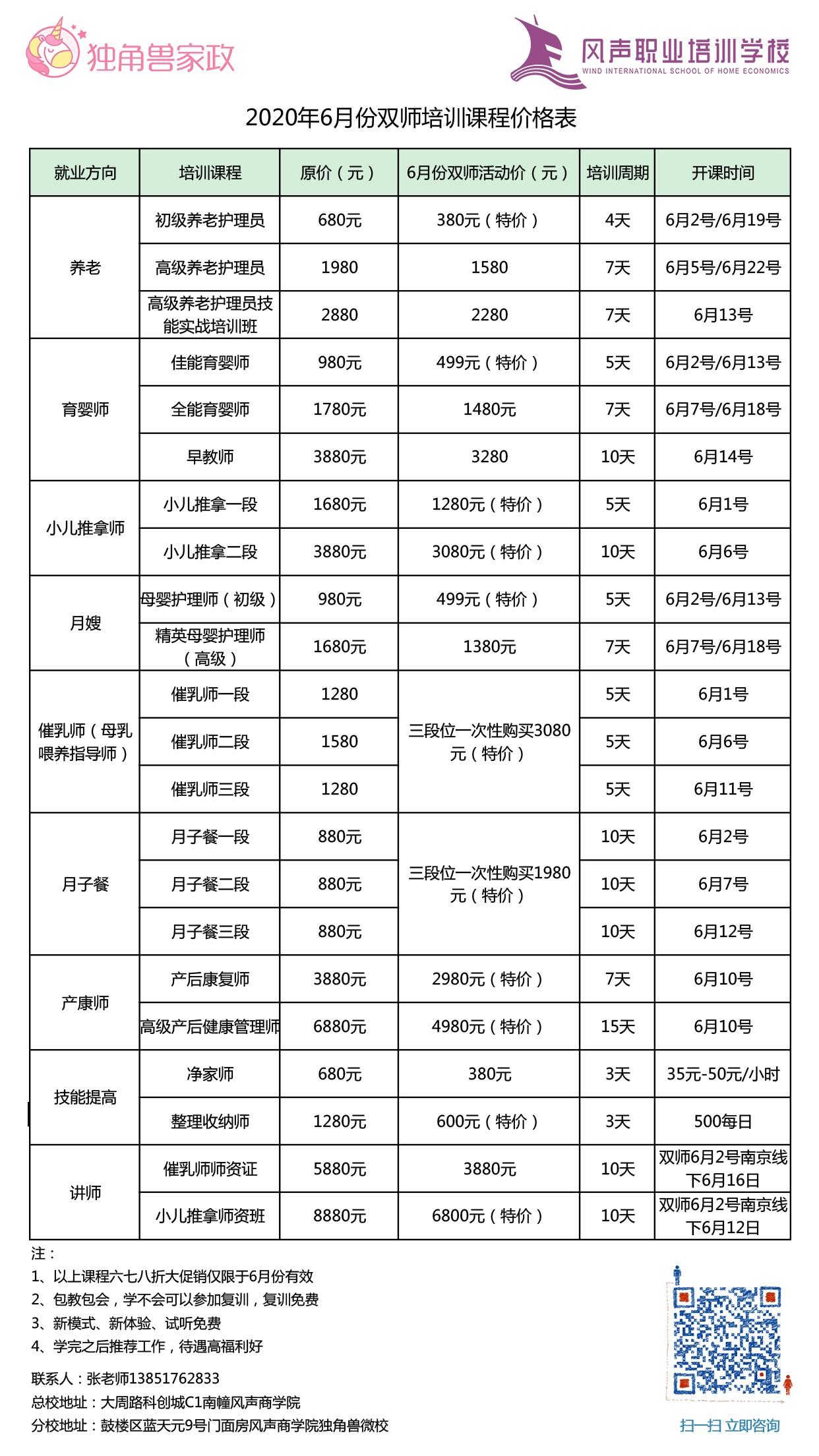 南京独角兽月嫂培训课程价格表