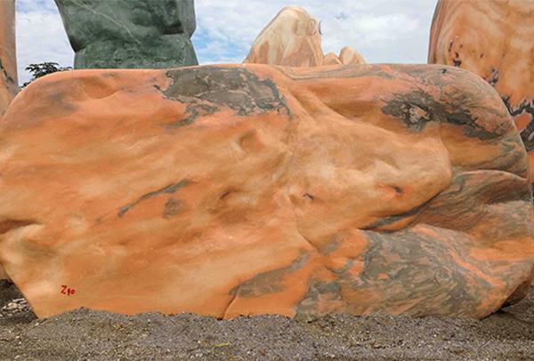晚霞红景观石
