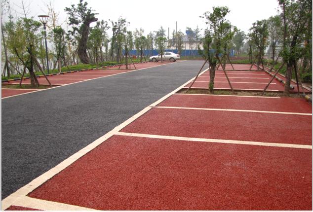 开县滨湖中路停车场彩色透水混凝土