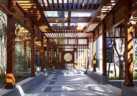 防腐木户外廊架
