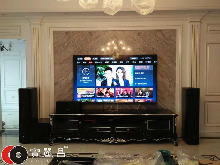 西安王总家客厅家庭影院设计及音响设备安装调试案例