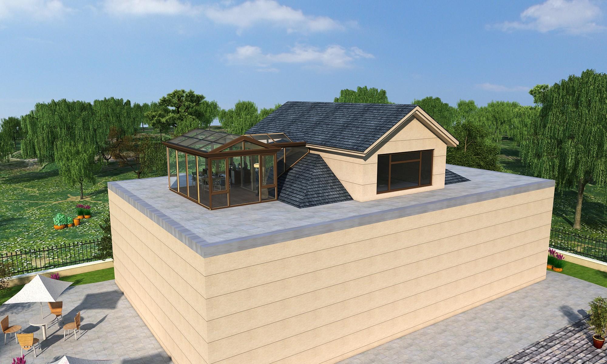沈阳香阁蔚蓝楼顶加建铝包木阳光房案例