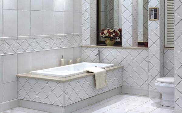 浅灰色美缝剂与白色墙砖搭配效果图