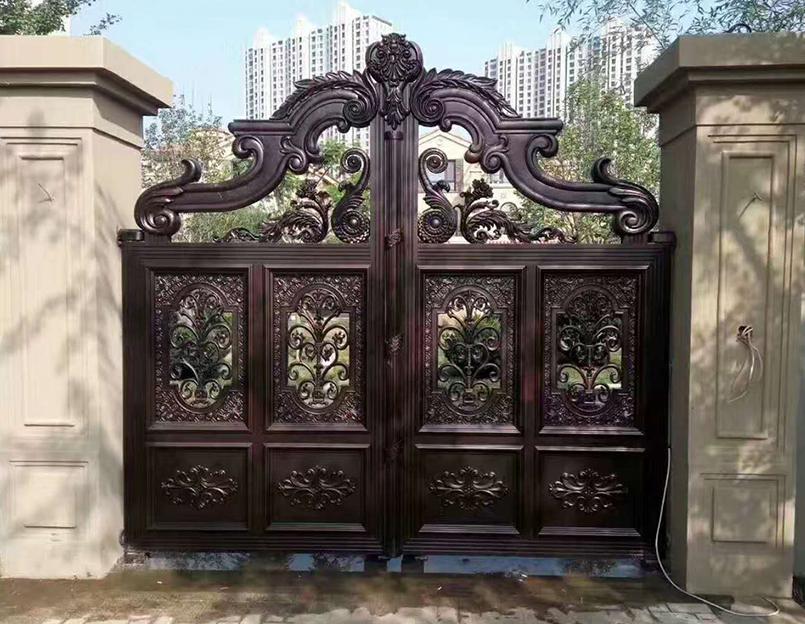 红木铝艺大门