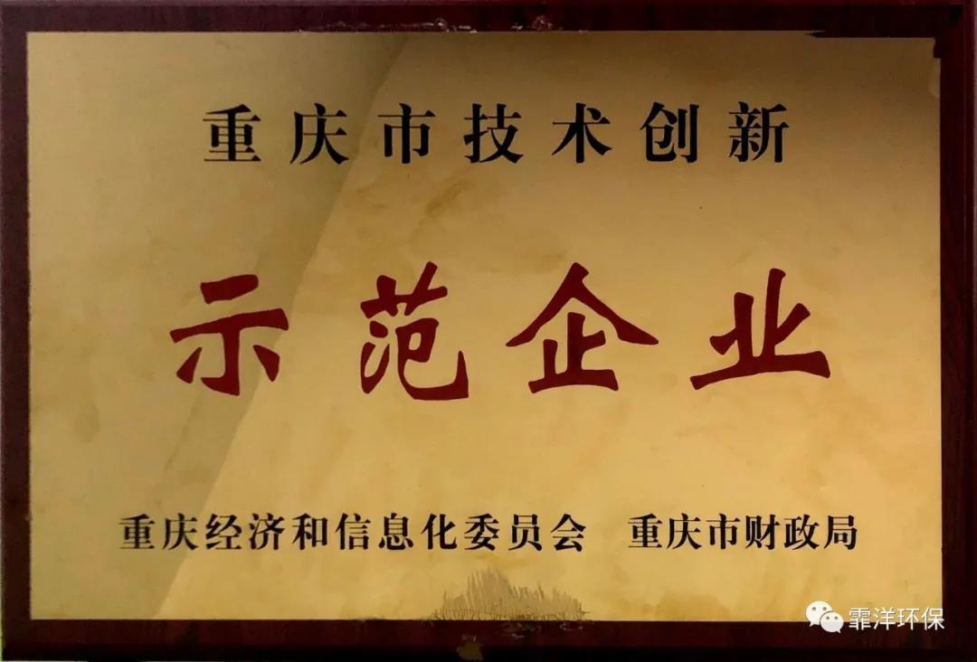 """热烈祝贺霏洋环保荣膺""""重庆市技术创新示范企业"""""""