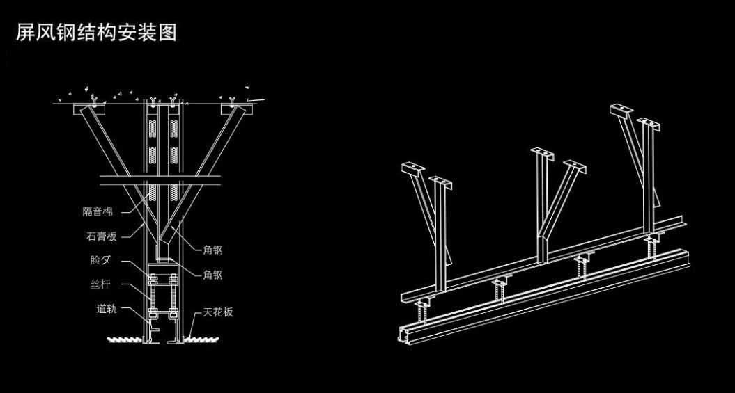 活动隔断钢结构示意图