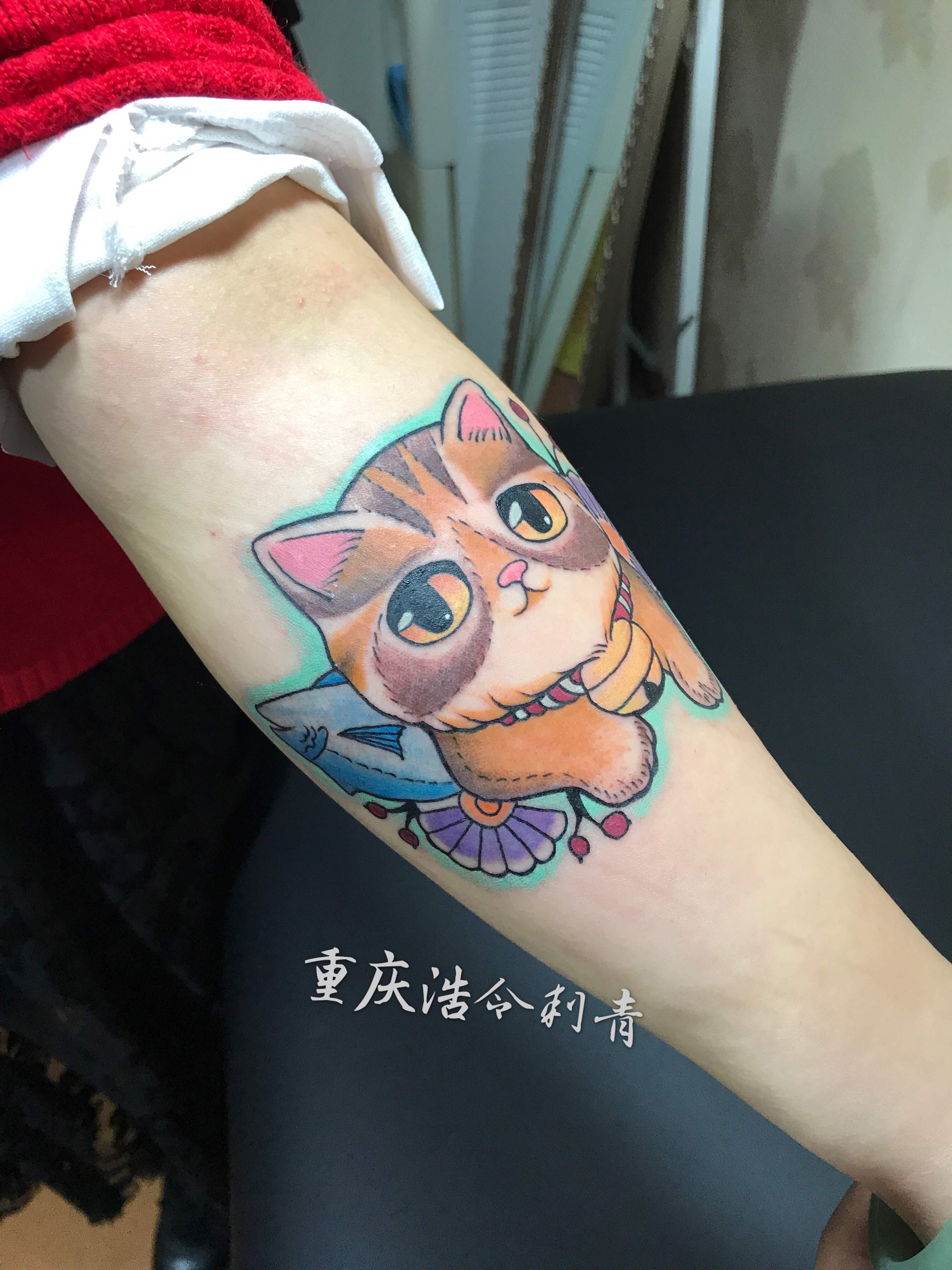 重庆彩色猫纹身