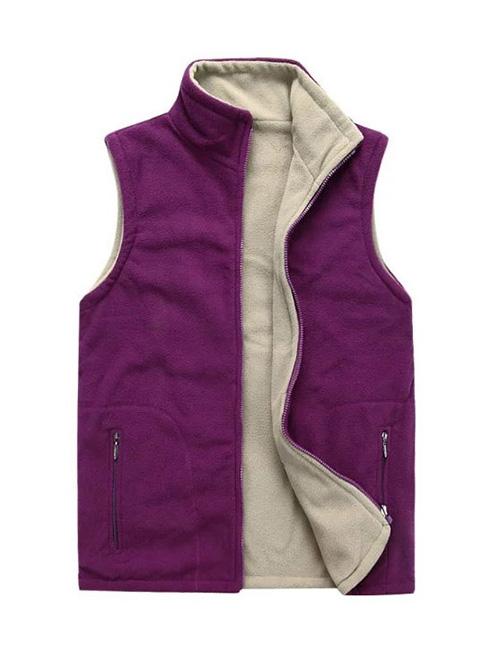 紫白双面穿绒马甲
