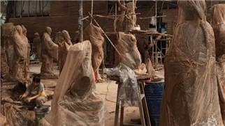 重庆雕塑厂家玻璃钢雕塑施工现场