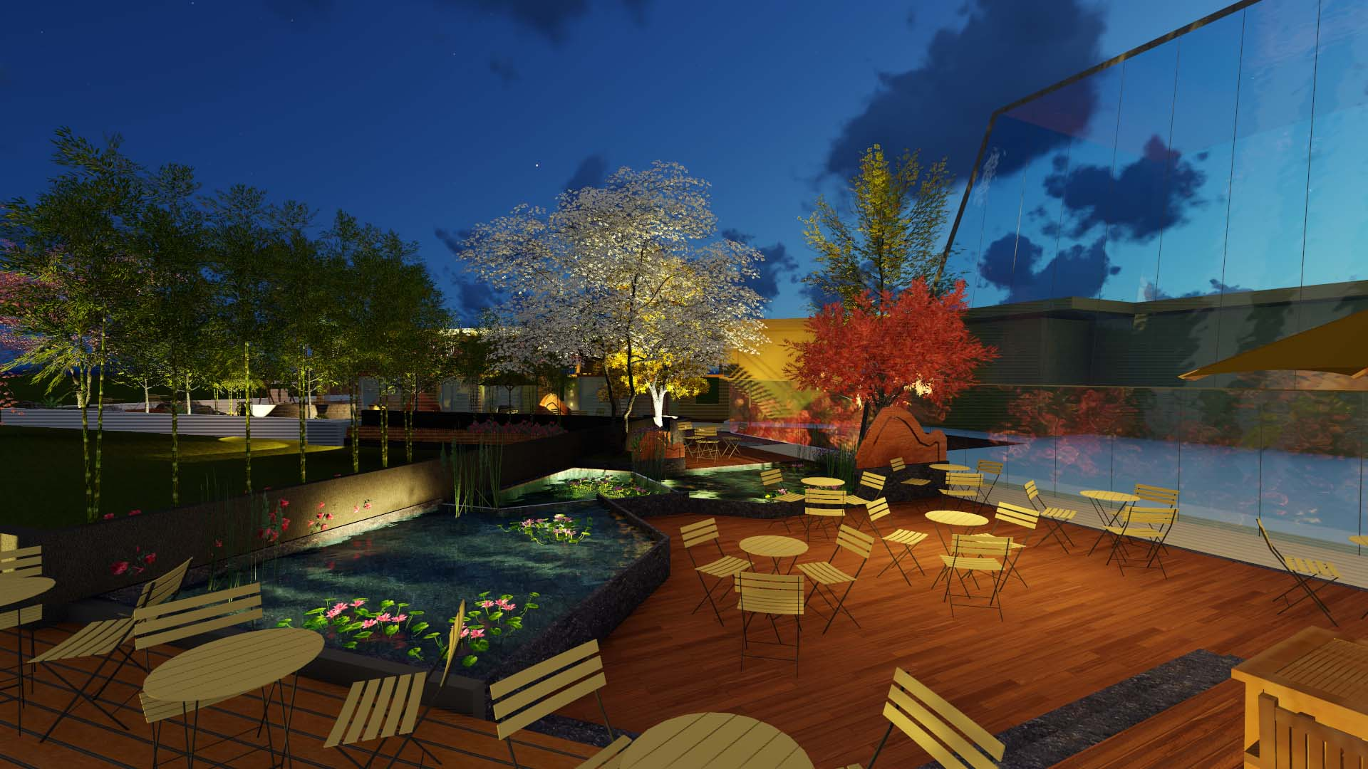 两江春城屋顶花园咖啡厅商业景观设计(现代风格)