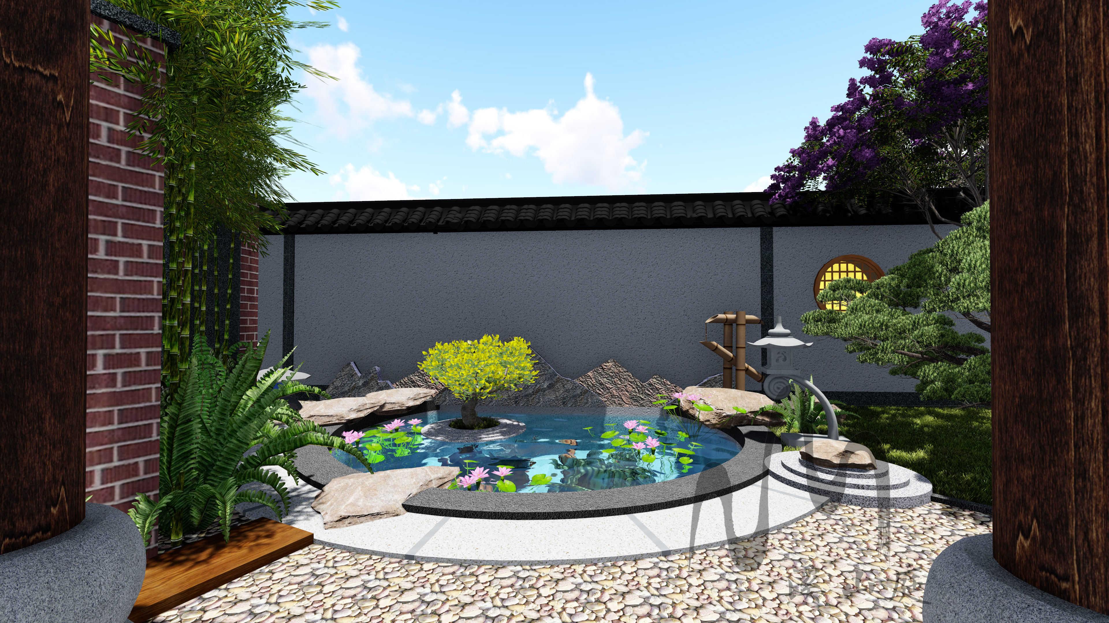 重庆中安长岛1期1-25别墅庭院花园设计(日式)