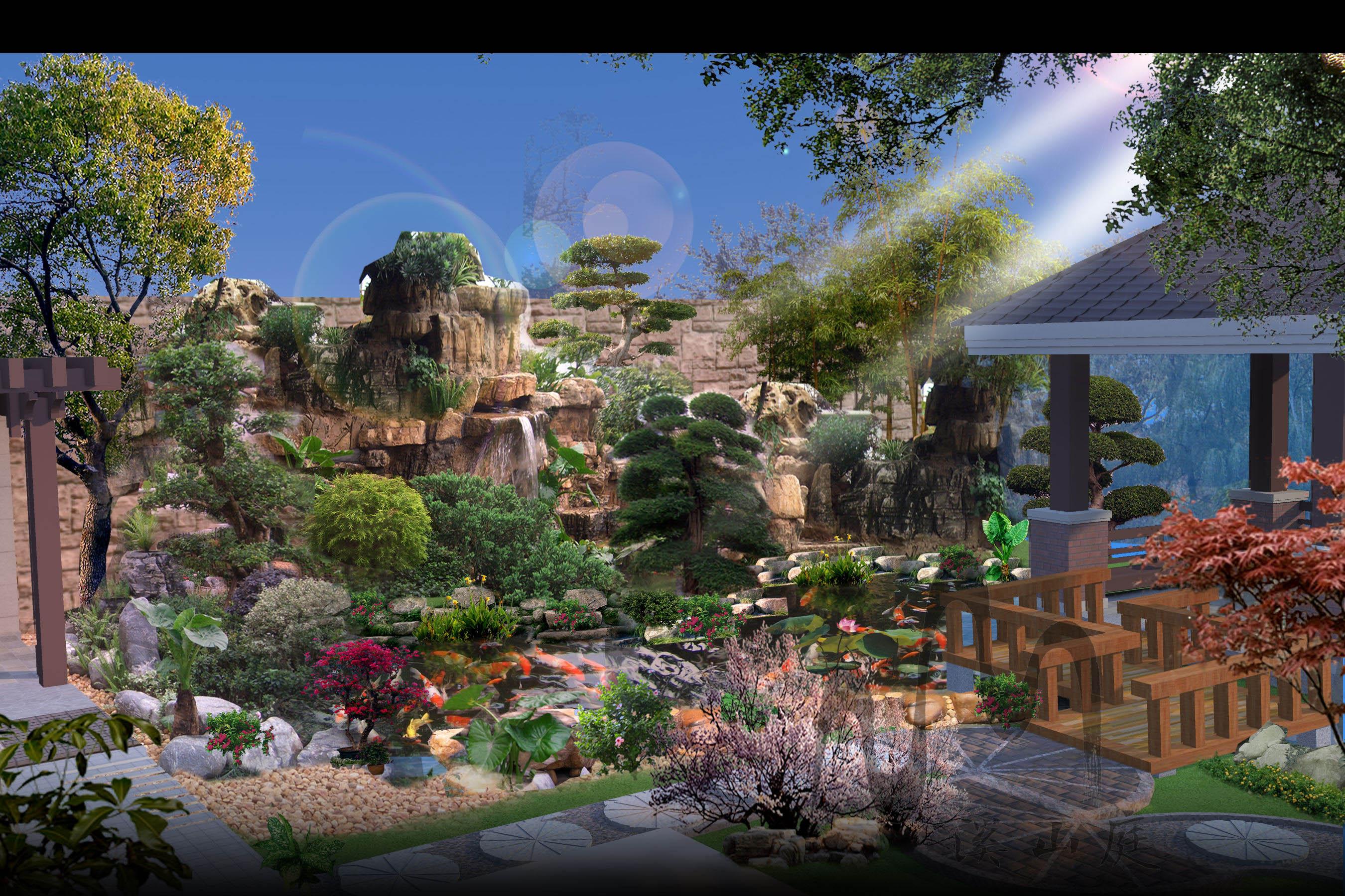 重庆棕榈泉51栋别墅花园庭院设计(中式)