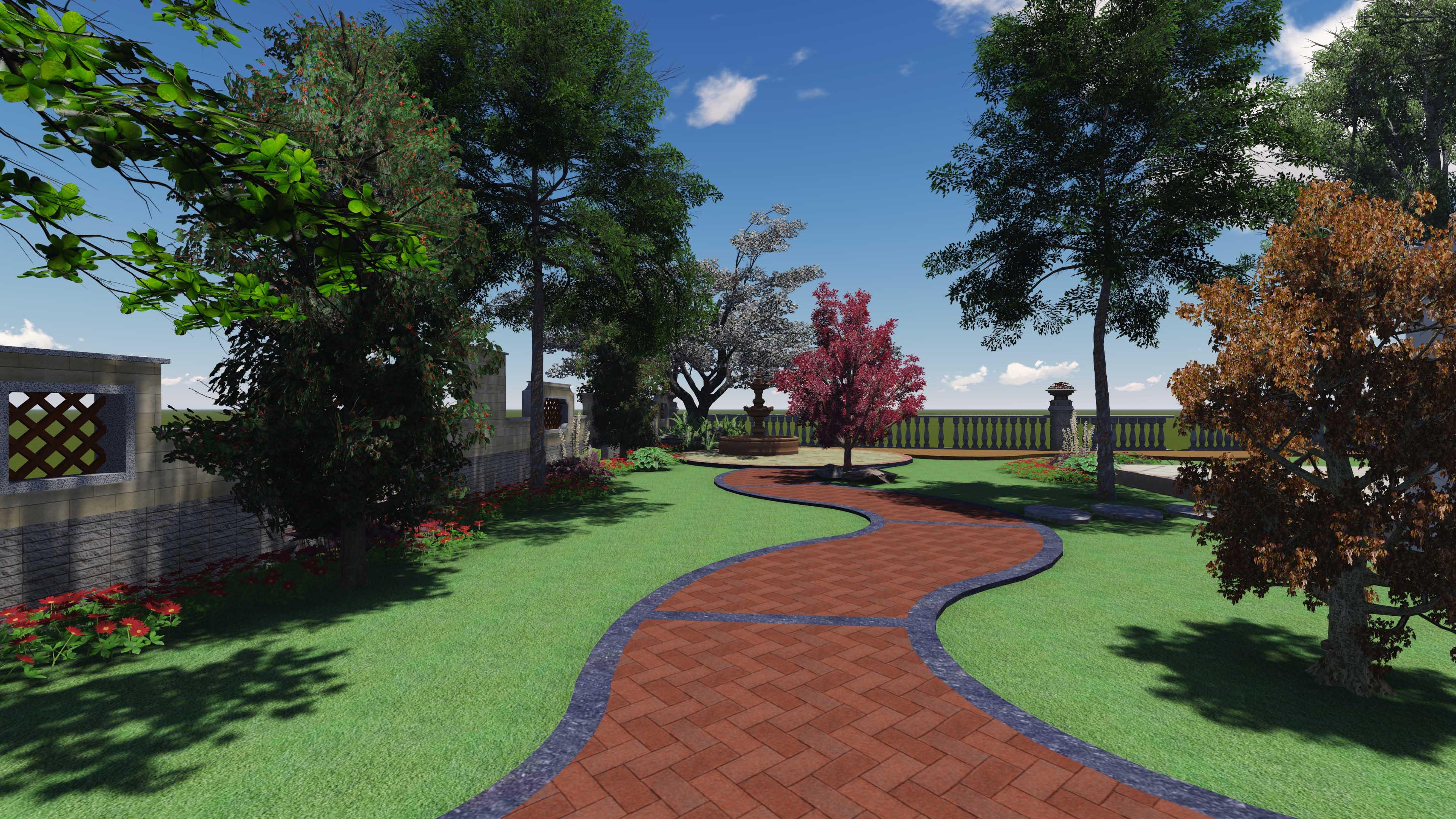 重庆棕榈泉11栋别墅庭院花园设计(欧式)