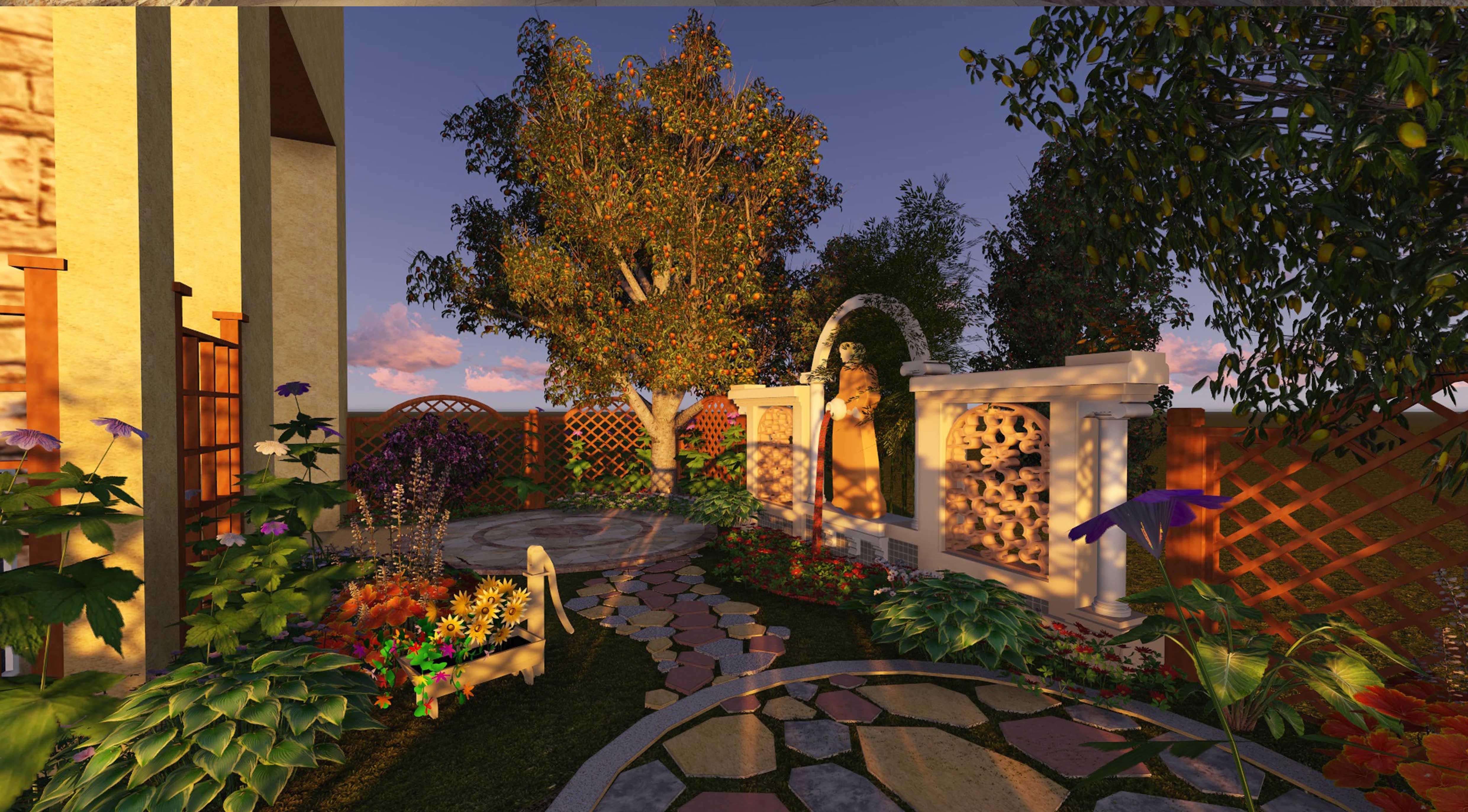 欧式别墅庭院设计_重庆廊桥水乡别墅庭院花园设计(欧式)_溪山庭景观园林设计