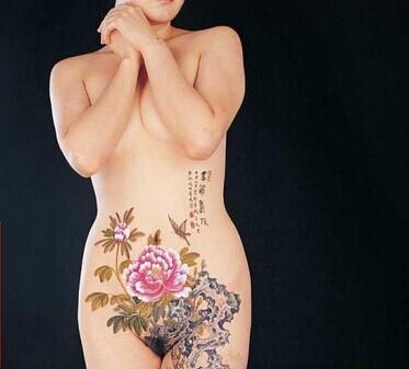 性感女生腰部优雅杜鹃花纹身