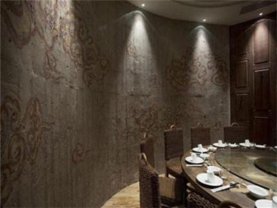 高级餐厅肌理漆墙面工艺