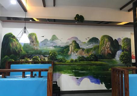 餐厅墙彩绘