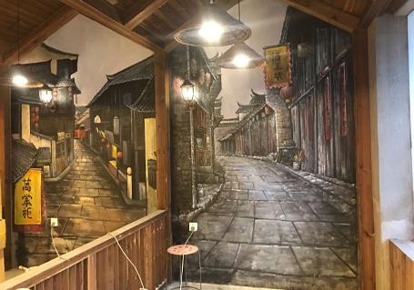 餐厅彩绘壁画