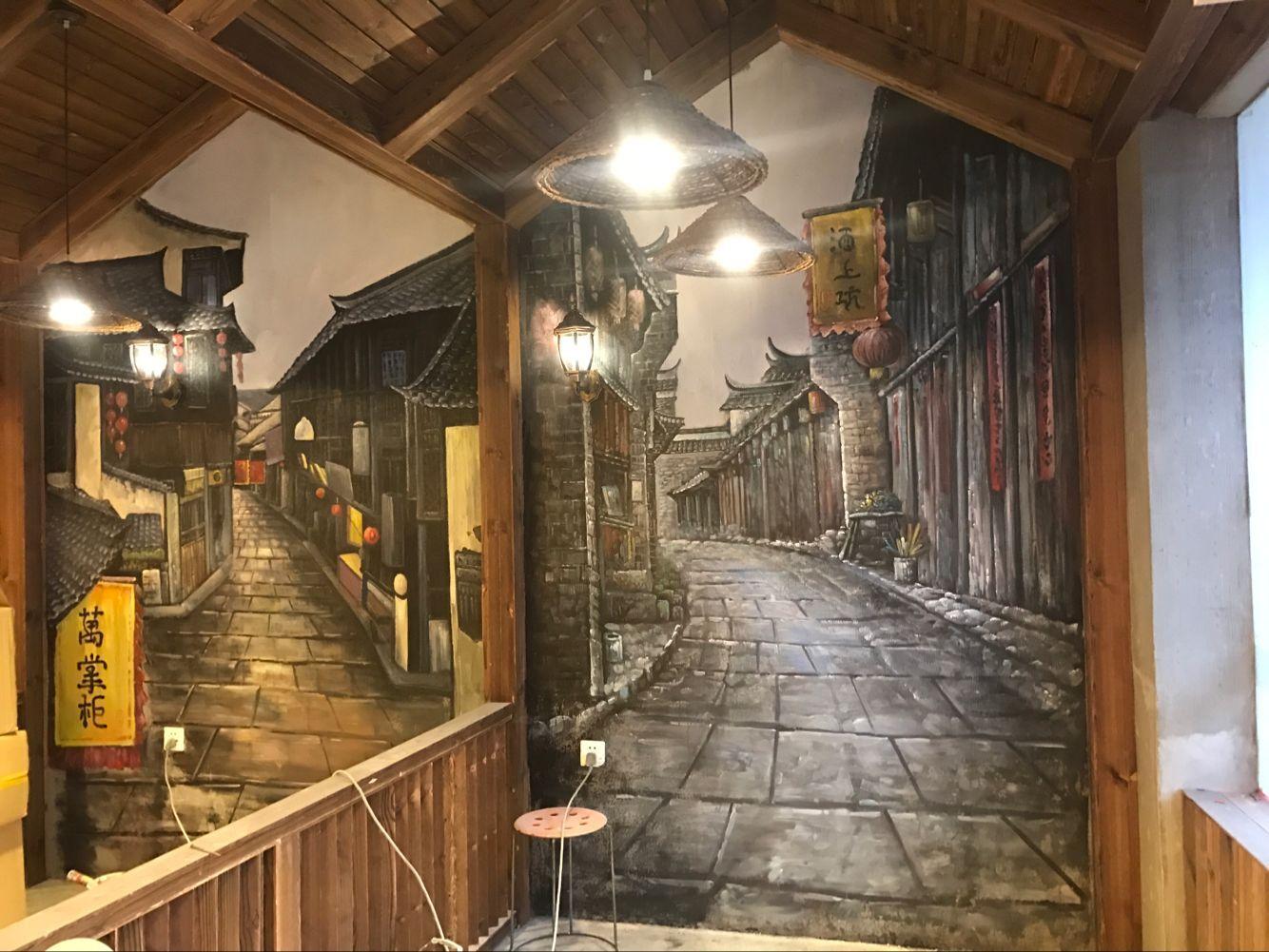 湖南餐厅彩绘壁画公司