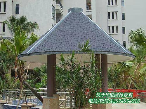 防腐木沥青瓦圆形亭