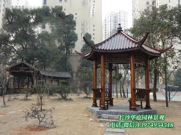 长沙南大桥学校防腐木凉亭、长廊