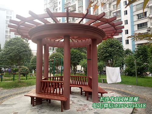 长沙金州公园防腐木花架