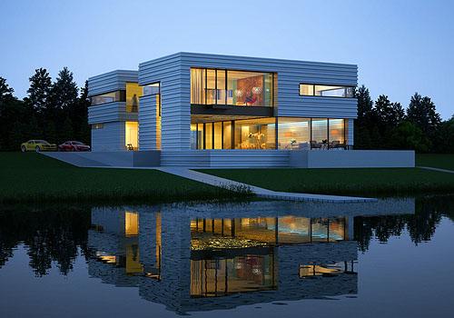 河边的房子,倒影的真美