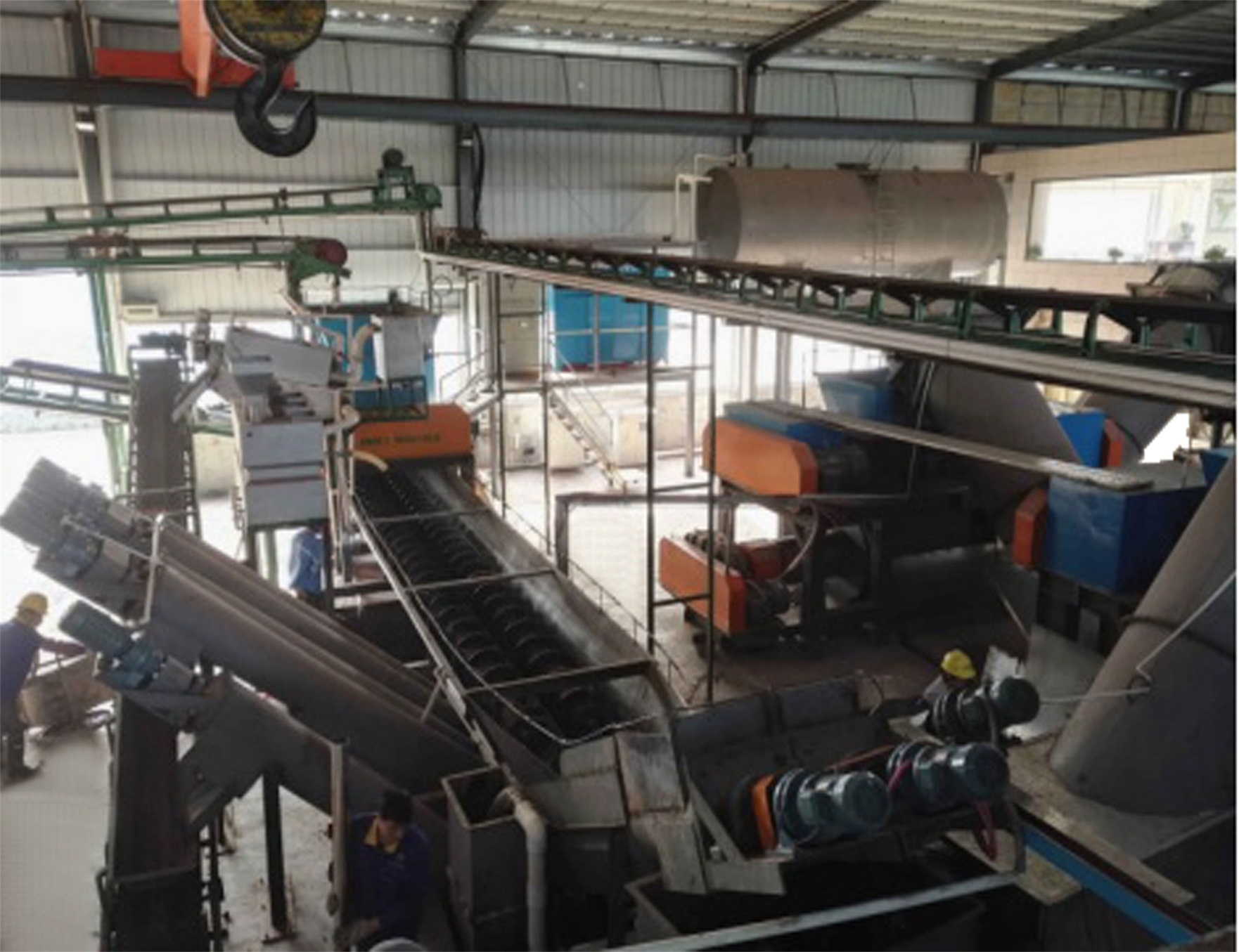 Domestic waste treatment production line