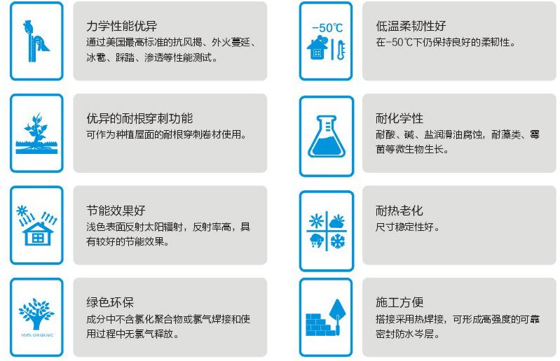 哈尔滨热塑性聚烯烃防水卷材