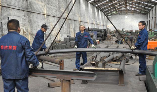 u型钢支架生产现场