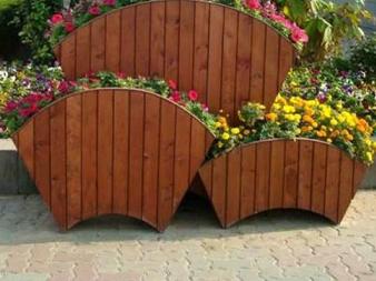 扇形防腐木花箱