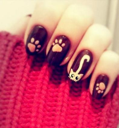 彩绘美甲图片可爱猫