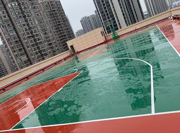 三明市单位楼顶硅PU球场与篮球架
