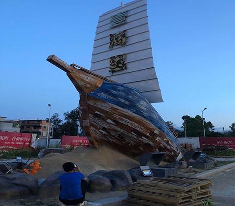 木質不銹鋼雕塑帆船