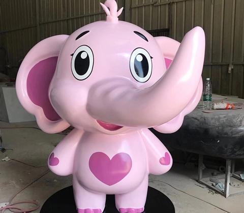 粉色小象卡通雕塑