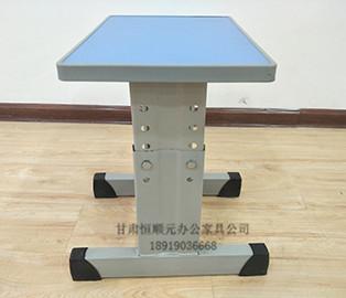 单人钢木可升降课桌椅