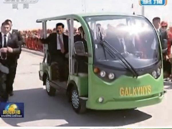 """为土库曼斯坦""""复兴""""气田一期工程竣工投产仪式提供接待车"""