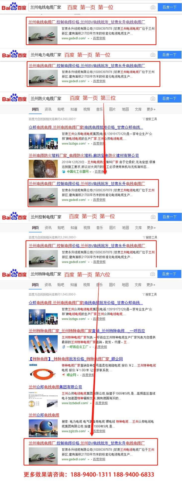 甘肃电线电缆公司跟启航合作网站SEO优化