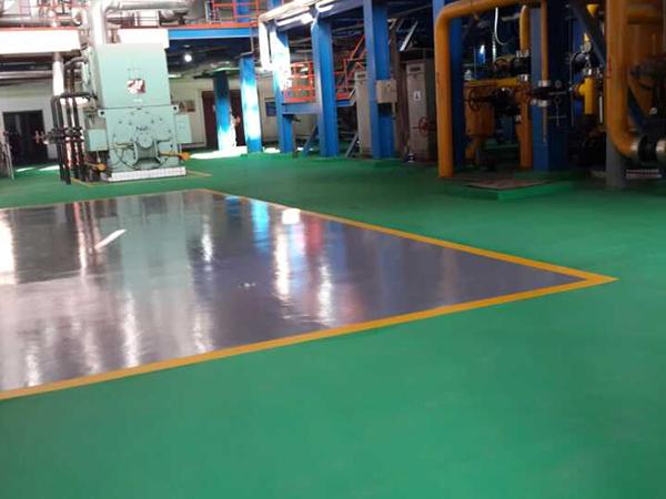 大唐发电公司5000平方米地下停车场环氧自流平工程