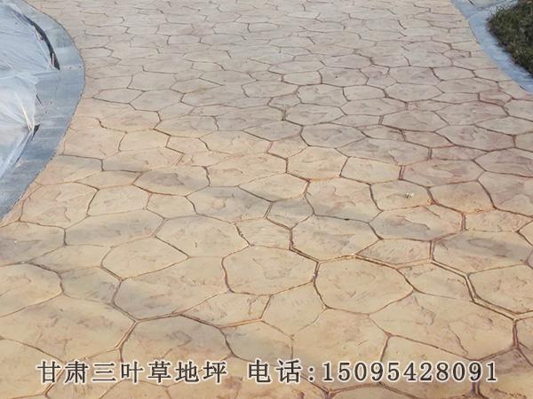 官鹅沟景区道路压花彩色地坪施工