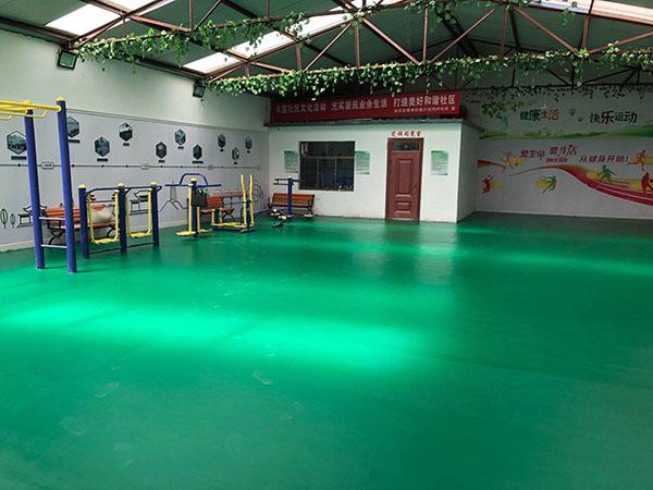 兰州雁滩沙洼村羽毛球场活动室环氧地坪项目