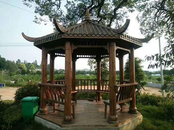榆中戰爭鎮防腐木涼亭裝置施工