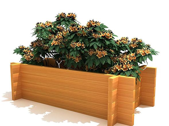高雄某小區裝置防腐木花箱