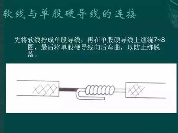軟線與單股硬導線的連接