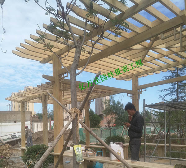 临夏防腐木高低廊架安装